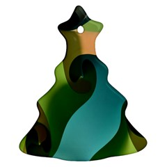 Ribbons Of Blue Aqua Green And Orange Woven Into A Curved Shape Form This Background Christmas Tree Ornament (two Sides)