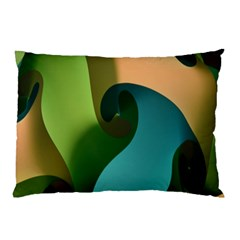 Ribbons Of Blue Aqua Green And Orange Woven Into A Curved Shape Form This Background Pillow Case (Two Sides)