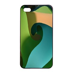 Ribbons Of Blue Aqua Green And Orange Woven Into A Curved Shape Form This Background Apple iPhone 4/4s Seamless Case (Black)