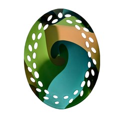 Ribbons Of Blue Aqua Green And Orange Woven Into A Curved Shape Form This Background Ornament (Oval Filigree)