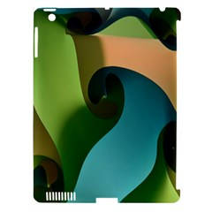 Ribbons Of Blue Aqua Green And Orange Woven Into A Curved Shape Form This Background Apple Ipad 3/4 Hardshell Case (compatible With Smart Cover)