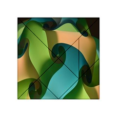 Ribbons Of Blue Aqua Green And Orange Woven Into A Curved Shape Form This Background Acrylic Tangram Puzzle (4  x 4 )