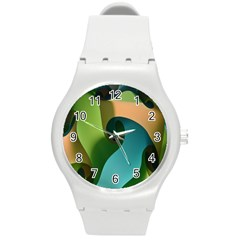 Ribbons Of Blue Aqua Green And Orange Woven Into A Curved Shape Form This Background Round Plastic Sport Watch (M)