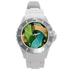 Ribbons Of Blue Aqua Green And Orange Woven Into A Curved Shape Form This Background Round Plastic Sport Watch (l)