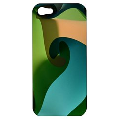 Ribbons Of Blue Aqua Green And Orange Woven Into A Curved Shape Form This Background Apple iPhone 5 Hardshell Case
