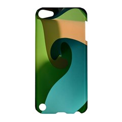 Ribbons Of Blue Aqua Green And Orange Woven Into A Curved Shape Form This Background Apple iPod Touch 5 Hardshell Case