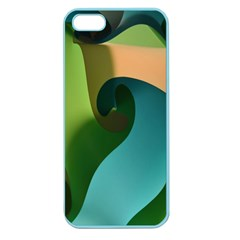 Ribbons Of Blue Aqua Green And Orange Woven Into A Curved Shape Form This Background Apple Seamless iPhone 5 Case (Color)