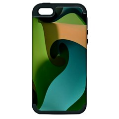 Ribbons Of Blue Aqua Green And Orange Woven Into A Curved Shape Form This Background Apple Iphone 5 Hardshell Case (pc+silicone)