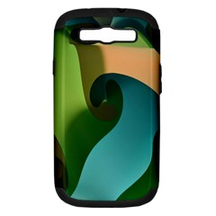 Ribbons Of Blue Aqua Green And Orange Woven Into A Curved Shape Form This Background Samsung Galaxy S III Hardshell Case (PC+Silicone)