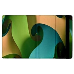 Ribbons Of Blue Aqua Green And Orange Woven Into A Curved Shape Form This Background Apple Ipad 3/4 Flip Case