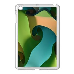 Ribbons Of Blue Aqua Green And Orange Woven Into A Curved Shape Form This Background Apple iPad Mini Case (White)
