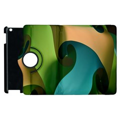 Ribbons Of Blue Aqua Green And Orange Woven Into A Curved Shape Form This Background Apple Ipad 3/4 Flip 360 Case