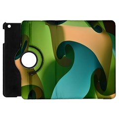 Ribbons Of Blue Aqua Green And Orange Woven Into A Curved Shape Form This Background Apple Ipad Mini Flip 360 Case