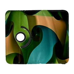 Ribbons Of Blue Aqua Green And Orange Woven Into A Curved Shape Form This Background Galaxy S3 (Flip/Folio)