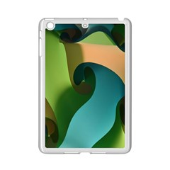 Ribbons Of Blue Aqua Green And Orange Woven Into A Curved Shape Form This Background Ipad Mini 2 Enamel Coated Cases