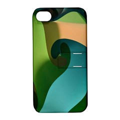Ribbons Of Blue Aqua Green And Orange Woven Into A Curved Shape Form This Background Apple iPhone 4/4S Hardshell Case with Stand