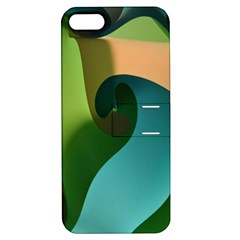 Ribbons Of Blue Aqua Green And Orange Woven Into A Curved Shape Form This Background Apple iPhone 5 Hardshell Case with Stand
