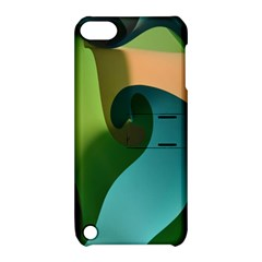 Ribbons Of Blue Aqua Green And Orange Woven Into A Curved Shape Form This Background Apple iPod Touch 5 Hardshell Case with Stand