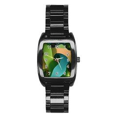 Ribbons Of Blue Aqua Green And Orange Woven Into A Curved Shape Form This Background Stainless Steel Barrel Watch