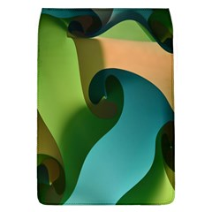 Ribbons Of Blue Aqua Green And Orange Woven Into A Curved Shape Form This Background Flap Covers (L)