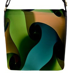 Ribbons Of Blue Aqua Green And Orange Woven Into A Curved Shape Form This Background Flap Messenger Bag (S)
