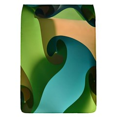 Ribbons Of Blue Aqua Green And Orange Woven Into A Curved Shape Form This Background Flap Covers (S)