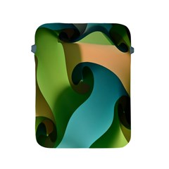 Ribbons Of Blue Aqua Green And Orange Woven Into A Curved Shape Form This Background Apple Ipad 2/3/4 Protective Soft Cases