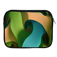 Ribbons Of Blue Aqua Green And Orange Woven Into A Curved Shape Form This Background Apple Ipad 2/3/4 Zipper Cases