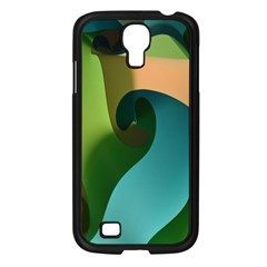 Ribbons Of Blue Aqua Green And Orange Woven Into A Curved Shape Form This Background Samsung Galaxy S4 I9500/ I9505 Case (Black)