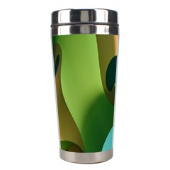 Ribbons Of Blue Aqua Green And Orange Woven Into A Curved Shape Form This Background Stainless Steel Travel Tumblers