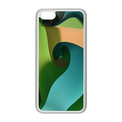 Ribbons Of Blue Aqua Green And Orange Woven Into A Curved Shape Form This Background Apple Iphone 5c Seamless Case (white)