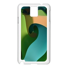 Ribbons Of Blue Aqua Green And Orange Woven Into A Curved Shape Form This Background Samsung Galaxy Note 3 N9005 Case (White)
