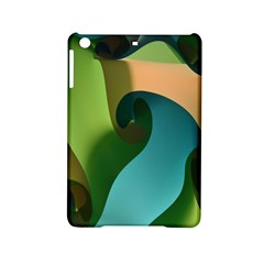 Ribbons Of Blue Aqua Green And Orange Woven Into A Curved Shape Form This Background Ipad Mini 2 Hardshell Cases