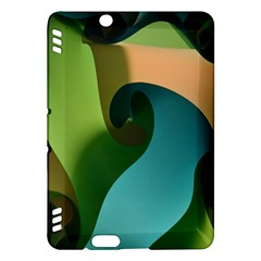 Ribbons Of Blue Aqua Green And Orange Woven Into A Curved Shape Form This Background Kindle Fire Hdx Hardshell Case