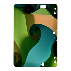 Ribbons Of Blue Aqua Green And Orange Woven Into A Curved Shape Form This Background Kindle Fire HDX 8.9  Hardshell Case
