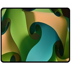 Ribbons Of Blue Aqua Green And Orange Woven Into A Curved Shape Form This Background Double Sided Fleece Blanket (medium)