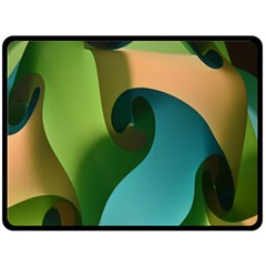 Ribbons Of Blue Aqua Green And Orange Woven Into A Curved Shape Form This Background Double Sided Fleece Blanket (large)
