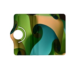 Ribbons Of Blue Aqua Green And Orange Woven Into A Curved Shape Form This Background Kindle Fire Hd (2013) Flip 360 Case