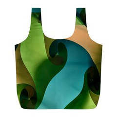 Ribbons Of Blue Aqua Green And Orange Woven Into A Curved Shape Form This Background Full Print Recycle Bags (l)
