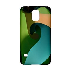 Ribbons Of Blue Aqua Green And Orange Woven Into A Curved Shape Form This Background Samsung Galaxy S5 Hardshell Case