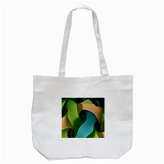 Ribbons Of Blue Aqua Green And Orange Woven Into A Curved Shape Form This Background Tote Bag (White)