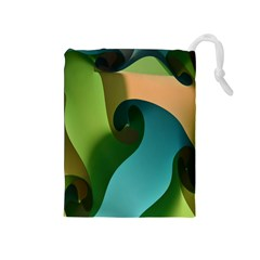 Ribbons Of Blue Aqua Green And Orange Woven Into A Curved Shape Form This Background Drawstring Pouches (medium)