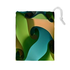 Ribbons Of Blue Aqua Green And Orange Woven Into A Curved Shape Form This Background Drawstring Pouches (Large)