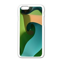 Ribbons Of Blue Aqua Green And Orange Woven Into A Curved Shape Form This Background Apple iPhone 6/6S White Enamel Case