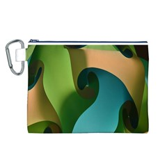 Ribbons Of Blue Aqua Green And Orange Woven Into A Curved Shape Form This Background Canvas Cosmetic Bag (L)