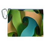 Ribbons Of Blue Aqua Green And Orange Woven Into A Curved Shape Form This Background Canvas Cosmetic Bag (XXL) Front