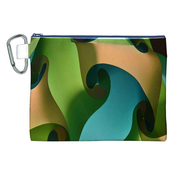 Ribbons Of Blue Aqua Green And Orange Woven Into A Curved Shape Form This Background Canvas Cosmetic Bag (XXL)