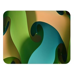 Ribbons Of Blue Aqua Green And Orange Woven Into A Curved Shape Form This Background Double Sided Flano Blanket (large)
