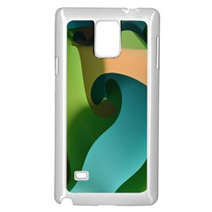 Ribbons Of Blue Aqua Green And Orange Woven Into A Curved Shape Form This Background Samsung Galaxy Note 4 Case (White)