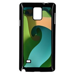 Ribbons Of Blue Aqua Green And Orange Woven Into A Curved Shape Form This Background Samsung Galaxy Note 4 Case (black)